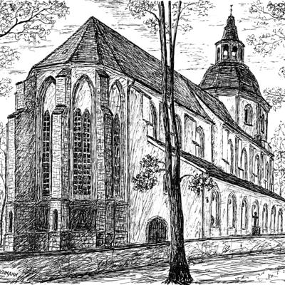 """01. – 29. April 2018 """"Kirchen""""Federzeichnungen und Malerei von Wilfried Neumann aus Neustrelitz"""